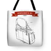 1921 Trout Basket Patent Drawing - Red Tote Bag
