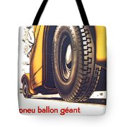 1924 - Dunlop Tires French Advertisement Poster - Color Tote Bag