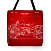 1924 Harley Motorcycle Patent Artwork Red Tote Bag by Nikki Marie Smith