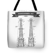 1927 Oil Well Rig Patent Drawing - Retro Gray Tote Bag