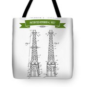 1927 Oil Well Rig Patent Drawing - Retro Green Tote Bag