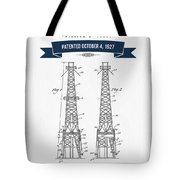 1927 Oil Well Rig Patent Drawing - Retro Navy Blue Tote Bag