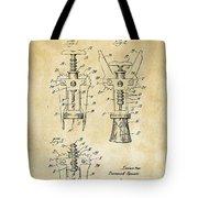 1928 Cork Extractor Patent Art - Vintage Black Tote Bag