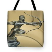 1928 Pierce Arrow Helmeted Archer Hood Ornament Tote Bag