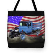 1929 Blue Chevy Truck And American Flag Tote Bag