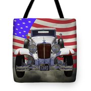 1929 Cord 6-29 Cabriolet Antique Car With American Flag Tote Bag