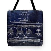 1930 Ship's Hull Patent Drawing Blue Tote Bag