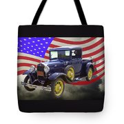 1930 Model A Ford Pickup Truck And American Flag Tote Bag