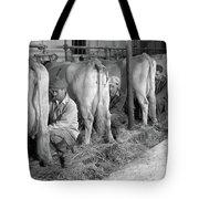1930s 1940s Three Men Hand Milking Tote Bag