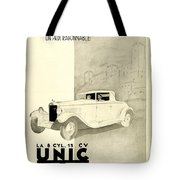 1931 - Unic 8 French Automobile Advertisement Tote Bag