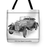 1931 Ford Convertible Tote Bag