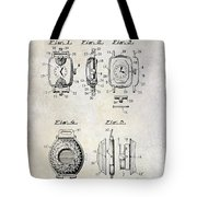 1933 Watch Case Patent Drawing  Tote Bag