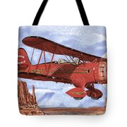 Monument Valley Bi-plane Tote Bag