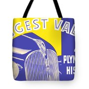 1937 - Plymouth Automobile Advertisement - Color Tote Bag