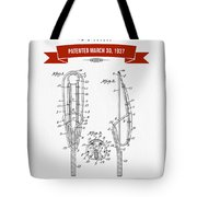 1937 Game Device Patent Drawing - Retro Red Tote Bag