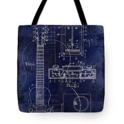 1937 Gibson Electric Guitar Patent Drawing Blue Tote Bag