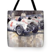 1937 Monaco Gp Team Mercedes Benz W125 Tote Bag