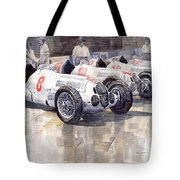1937 Monaco Gp Team Mercedes Benz W125 Tote Bag