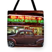 1940 Ford Deluxe Coupe At Mickeys Dinner  Tote Bag