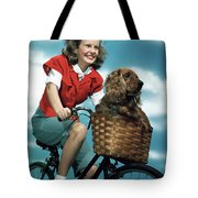 1940s 1950s Smiling Teen Girl Riding Tote Bag