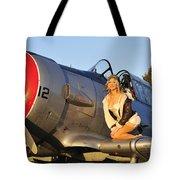1940s Style Aviator Pin-up Girl Posing Tote Bag