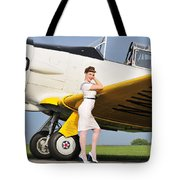 1940s Style Navy Pin-up Girl Leaning Tote Bag by Christian Kieffer