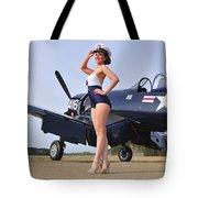 1940s Style Navy Pin-up Girl Posing Tote Bag