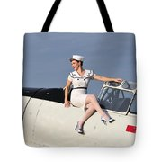 1940s Style Pin-up Girl Sitting Tote Bag by Christian Kieffer