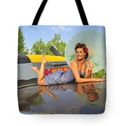 1940s Style Pin-up Girl With Parasol Tote Bag by Christian Kieffer