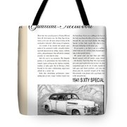 1941 Cadillac Fleetwood Sedan Vintage Ad Tote Bag
