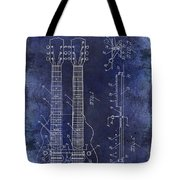 1941 Gibson Electric Guitar Patent Drawing Blue Tote Bag