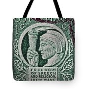 1943 Freedom Of Speech And Religion Stamp Tote Bag