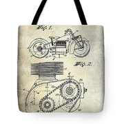 1943 Indian Motorcycle Patent Drawing Tote Bag