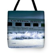 1948 California Zephyr Silver Palm Near Infrared Blue Tote Bag