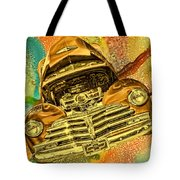 1948 Chev Gold Tie Dye Tilt Car Art Tote Bag