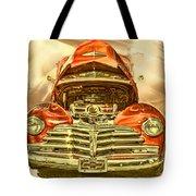 1948 Chev Red Gold Metal Art Tote Bag