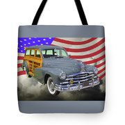 1948 Pontiac Silver Streak Woody And American Flag Tote Bag