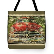 1949 Red Ford Coupe Tote Bag