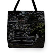 1950 Ford Coupe Neon Glow Tote Bag