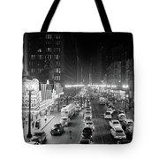 1950s 1953 Night Scene Of Chicago State Tote Bag