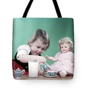 1950s Little Girl Toddler And Baby Doll Tote Bag