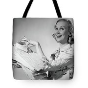 1950s Proud Smiling Woman Housewife Tote Bag