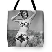 1950s Smiling Young Woman Kneeling Tote Bag
