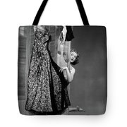 1950s Woman Peeking From Behind Screen Tote Bag