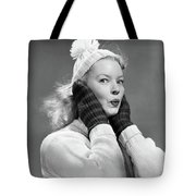1950s Young Woman Pursing Lips Hands Tote Bag