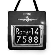 1951 Ferrari 212 Export Berlinetta Rear Emblem - License Plate -0775bw Tote Bag
