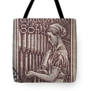 1954 Czechoslovakian Textile Worker Stamp Tote Bag