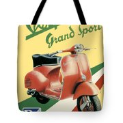 1955 - Vespa Grand Sport Motor Scooter Advertisement - Color Tote Bag