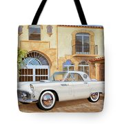 1956 Thunderbird At Palm Beach  Classic Vintage Ford Art Sketch Rendering          Tote Bag