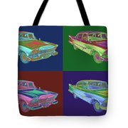 1958 Plymouth Savoy Classic Car Pop Art Tote Bag